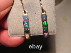 Dangle Opal Earrings 14 kt Gold Brilliant Gem color Australian opal