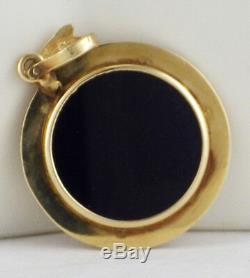 Estate 1/20th OZ. 999 Gold Australian Nugget Coin Pendant 14K Black Onyx Holder