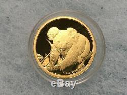 FREE SHIPPING 1/10 oz Gold 2010 Perth Australian Koala Proof Coin. 9999 Capsule