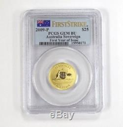 First Strike 2009-P PCGS GEM BU $25 Australian Sovereign Gold Coin