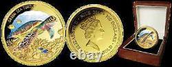 GREEN SEA TURTLE Endangered Extinct 1oz Gold Proof Coin 100$ Niue 2014