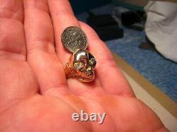 Gem Opal SKULL Ring 10 grams 14 k Yellow Gold size 10 3/4