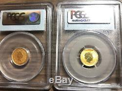 Gold 1/10 Oz Lunar Perth Mint MS69 PCGS Australian Tiger 1998 + Horse 2002.999