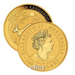 Gold 1 oz Australian Gold Kangaroo $100 Coin. 9999 Fine Random Date