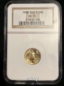 Gold Eagle 1/10 NGC Ms70, Australian Aussie Proof 1/10 And Morgan Dollar Coin