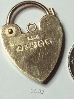 Gold Heart Lock Clasp Charm Pendant 9k Yellow England Australia Opens 3.5 g VTG