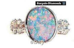 Harlequin black opal diamond 14K gold ring pink engagement Australian birthstone