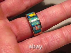 Heavy Gem Opal Ring 14 k Yellow Gold Size 11 1/4 Brilliant color Thick Cut