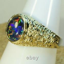 Heavy Mans Solid 14k Yellow Gold Genuine Australian opal ring (15036)