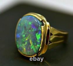 Huge Australian Pure Solid Black Opal Mens Ring 18K Gold HEAVY & Quality! $30K