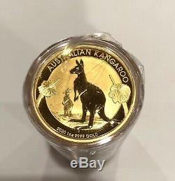 IN STOCK- 5- 1 OZ 9999 FINE GOLD proof 2020 AUSTRALIAN KANGAROO, $100 COINS