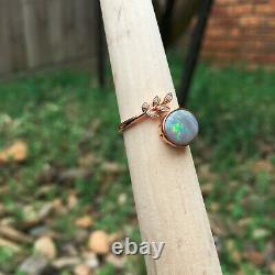 KG68#1.15CT Australia Solid Opal with0.025CT Diamond 18k rose gold ring size L