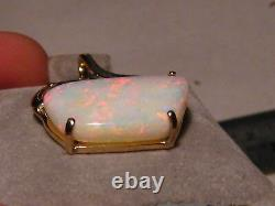 Large 10 ct. Natural Australian White Opal Pendant Solid 14k Yellow Gold