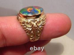 Large 14 k yellow Gold Men's opal Triplet Ring SIZE 8 1/2 No Resize