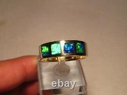 Large Mens Australian Gem Opal Ring 9 grams 14 k Yellow Gold size 11 1/4