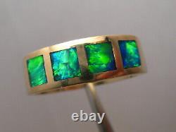 Large Mens Australian Red Gem Opal Ring 9.5 grams 14 k Yellow Gold size 11