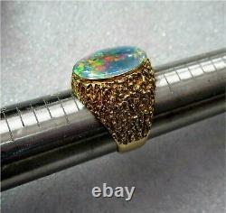 Large Natural Australian Opal Men's Signet Ring 14.2 gr. 12k Yellow Gold