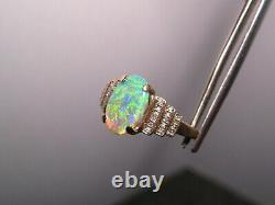 Lightning Ridge Australian Gem Opal & Diamond Ring 14k Yellow Gold Flawless