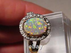 Lightning Ridge Opal & Diamond Ring 14k Yellow Gold