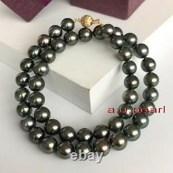 Long AAAAA 2610-11mm Natural REAL ROUND TAHITIAN black pearl necklace 14K GOLD