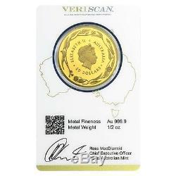 Lot of 2 2017 1/2 oz Gold Kangaroo Coin Royal Australian Mint Veriscan. 9999 F