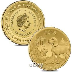 Lot of 2 2018 1/2 oz Gold Lunar Year of the Dog Coin BU Royal Australian Mint