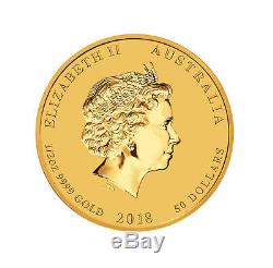 Lot of 2 2018 $50 1/2oz Gold Australian Year of the Dog BU