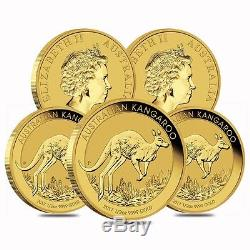 Lot of 5 2017 1/2 oz Australian Gold Kangaroo Perth Mint Coin. 9999 Fine BU In