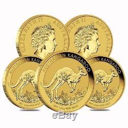Lot of 5 2017 1/4 oz Australian Gold Kangaroo Perth Mint Coin. 9999 Fine BU In
