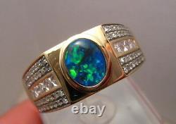 Mens Diamond & Black Opal Ring Solid 14k Yellow Gold 1.10 ct of Diamonds
