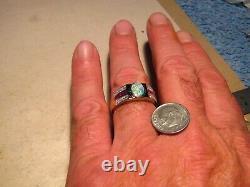 Mens Diamond Ruby & Opal Ring Solid 14 k Yellow Gold 100% Natural