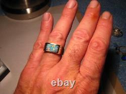 Multi Color Elegant Mens Gem Australian Opal Ring Solid 14 k Gold