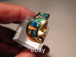 Navajo Style Australian Black Opal Inlay Ring 14k Yellow gold, Size 11 1/4