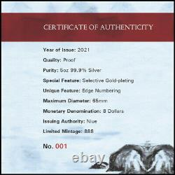 Niue 2021 Great Lunar Zodiac Race Year Ox $8 5 Oz Gilt Pure Silver Gilded Proof