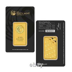Perth Mint 1 oz Gold Bar. 9999 Sealed With Assay Certificate 24 Karat
