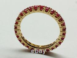 R122 Genuine 18K 750 Solid Yellow Gold Natural Ruby Full-Eternity Ring size 6.25