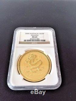 RARE 2000 AUSTRALIA GOLD LUNAR DRAGON $200 2 OZ Gold Coin NGC MS69