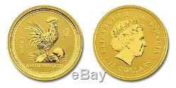 RARE! 2005 1/10th OZ PURE. 9999 GOLD YEAR of the ROOSTER PERTH MINT$288.88