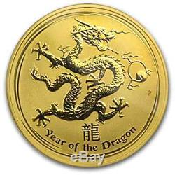 RARE 2012 1OZ PURE. 9999 GOLD YEAR of the DRAGON PERTH MINT $1,788.88
