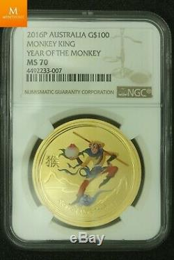 RARE! All Lunar Monkey King 1,9 oz 999 gold in MS70 Very low mintage