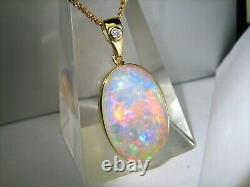 Rainbow FIRE 10ct HiDome Cabochon Solid Australian Opal Diamond 14K gold pendant