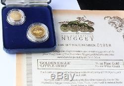 Rare 1986 Inaugural Australian Nugget Gold Proof Coin Set COA 2pc not 4pc 1/10 +