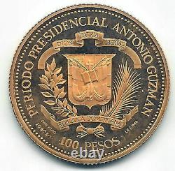 Republic Dominican 100 Weights 1979 Visit Juan Pablo II Gold @Proof @