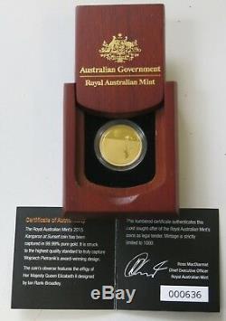Royal Australian Mint 2015 Gold Proof $25 Coin Kangaroo at Sunset. 9999 1/5oz Au