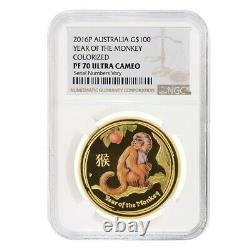 Sale Price 2016 1 oz Colorized Proof Gold Lunar Year of The Monkey NGC PF 70