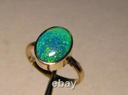 Solitaire Natural Australian Black Opal Ring 14 k Yellow Gold