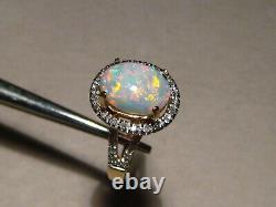 Top Quality white Opal & Diamond Ring 14 k Yellow Gold