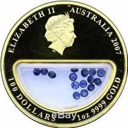 Treasures Of Australia 2007 Sapphires 1 Oz Gold Coin Very Rare Rar