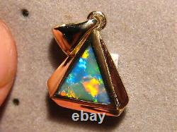 Triangle Opal Pendant solid 14 k Yellow Gold