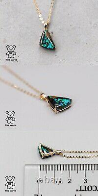 Triangle Shaped Australian Koroit Boulder Opal Pendant Necklace 18K Yellow Gold